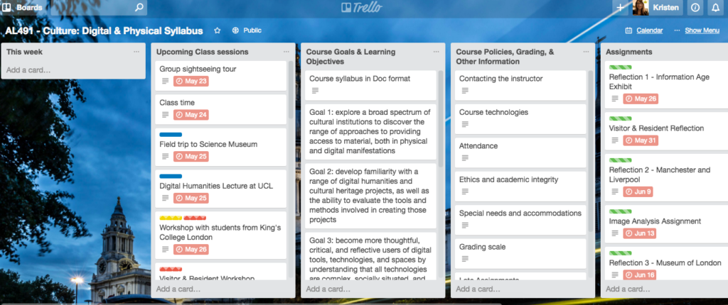 Link to syllabus in project management tool Trello