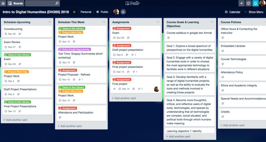 Screenshot of Trello interface for sylalbus
